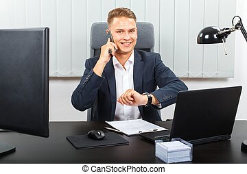 Success in business - Handsome young businessman sitting in...