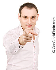 businessman pointing his finger - picture of attractive...