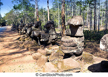 Angkor Thom, Siem Reap, Cambodia - near north gate Angkor...