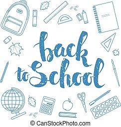Back to school, blue linear