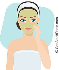 Skin care - mask - Girl applies cosmetic mask on her face,...
