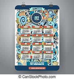 Cartoon doodles nautical 2017 calendar