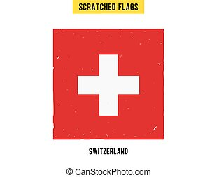 Swiss grunge flag with little scratches on surface. A hand drawn scratched flag of Swizerland with a easy grunge texture. Vector modern flat design.