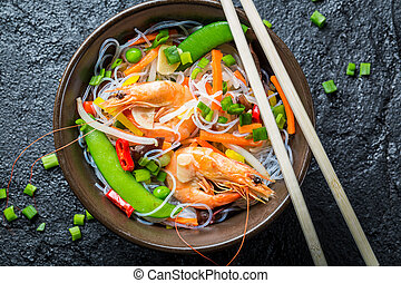 Chinese mix vegetables with shrimp