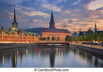 Copenhagen - Image of Copenhagen, Denmark during twilight...