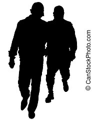 Two police men - People of special police force on white...
