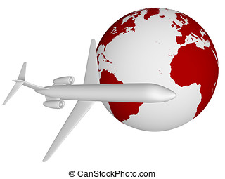 Airplane - An airplane is flying around the world