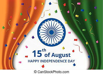 Happy Indian Independence Day celebration on curtain color...