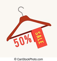 Clothes hanger with Sale - Vector illustration of clothes...