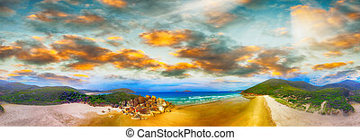 Squeaky Beach, Wilsons Promontory. Aerial panoramic sunset...