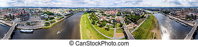 Panoramic 360 degrees aerial view of Dresden. Altstadt and...