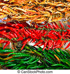 Red and green hot chilly peppers - Bunches of red and green...