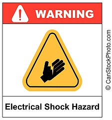 Electrical Shock Hazard symbol, vector illustration with warning sign in yellow triangle isolated on white.