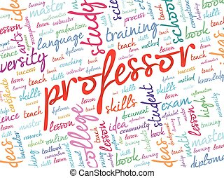 Professor word cloud, education concept background