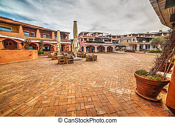 Porto Cervo square on a cloudy day, Sardinia