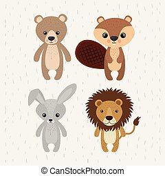 set cute animals wildlife icon