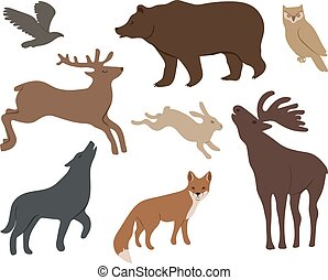 wild forest animals - Collection of wild forest animals...