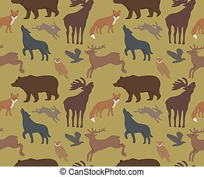 wild forest animals - Seamless background with wild forest...