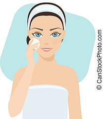Skin care - lotion - Girl cleans her face with cosmetic...