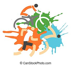 Triathlon race - Colorful grunge background with stylized...
