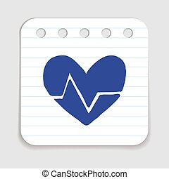 Doodle HEART RATE icon Blue pen hand drawn infographic...