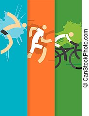 Triathlon racers background - Colorful striped background...