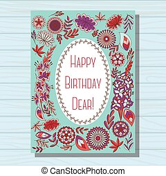 Blue happy birthday dear card on wooden background - Vector...