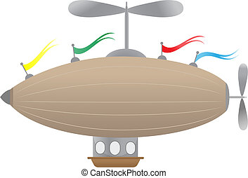 Fantasy Airship with flags - Editable Vector Illustration of...