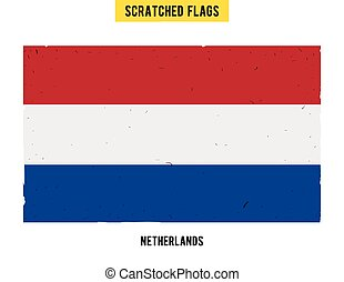 Dutch grunge flag with little scratches on surface A hand...