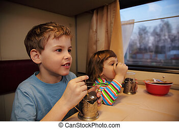 Two children drink tea from glasses in train car