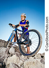 Mountain Biker and blue sky