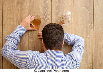 Sad man alcohol addicted feeling bad