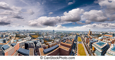Aerial view of Potsdamer Platz area and gardens in Berlin,...