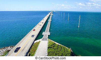Beautiful aerial view of Florida Bridge across Keys Island