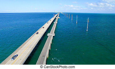 Aerial view of Florida Keys Bridge at sunset