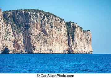 Coast and blue Mediterranean sea in Sardinia, Italy View...