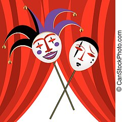 two masks clown - abstract background and red velum with two...
