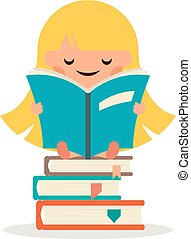 Little Happy Girl Read Fairy Tail Book Education Symbol...