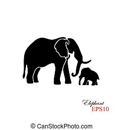 Elephant and baby elephant. The black silhouette of an elephant on a white background. Element for design