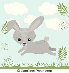 rabbit cute woodland icon vector isolated graphic