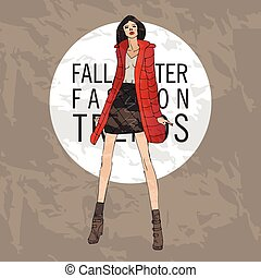Fashion model. Sketch fall winter trends