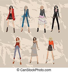 Fashion models set. Sketch fall winter trends