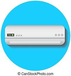 Modern air conditioner, flat vector illustration on blue