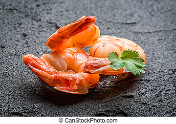 Closeup of fresh seafood on a stone