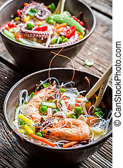 Chinese mix vegetables with seafood