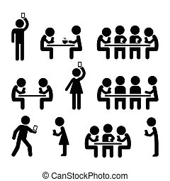 People on smartphones icons