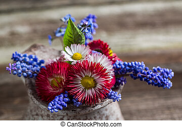Closeup of spring flowers in a vase