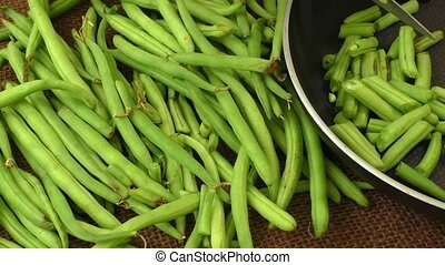 Cut small and slender green beans (haricot vert)