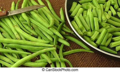 Green beans close up top view
