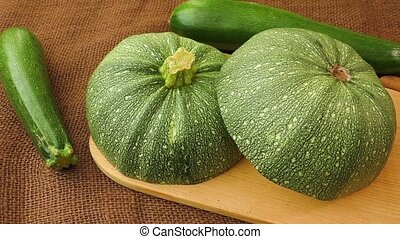 Zucchini - Round zucchini, entire and sectioned